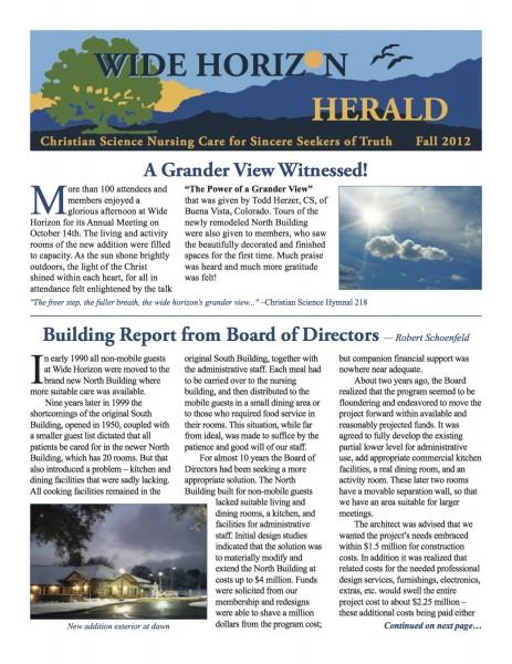 Wide Horizon Herald - Fall 2012